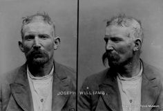 Joseph Williams (b. 1860, England). Charged with procuring liquor for prohibited person and sentenced to 1 month in gaol on 19 July 1907 (Napier). Photograph taken on 15 August 1908 in Napier.