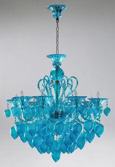 Murano Chandelier - Turquoise Glass