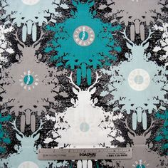 TIME IS DEER Coal Turq Grey White  Cotton Quilt Fabric by zeetzeet, $10.50