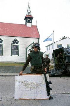 Argentine soldier showing a map on April 1982 in Port Stanley, Falklands…