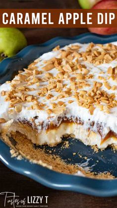 Caramel Apple Cheesecake Dip is a layered, sweet, salty and scrumptious dessert dip, packed with sliced apples and pears. It's one of the best apple recipes for apple picking season!  Once upon a time, I had a container of Marzetti's caramel dip in my fridge, plus some fresh apples and pears. Instantly, this caramel apple cheesecake dip popped into my mind. Caramel Apple Cheesecake, Cheesecake Dip, Apple Desserts, No Bake Desserts, Apple Picking Season, Best Apple Recipes, Caramel Dip, Coffee Drink Recipes, Apple Dip