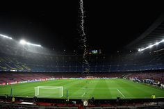 General view inside the stadium prior to the UEFA Champions League group D match between FC Barcelona and Olympiakos Piraeus at Camp Nou on October 18, 2017 in Barcelona.