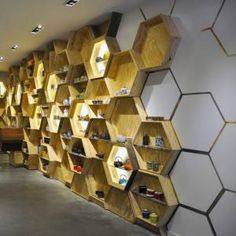 honeycomb shelves, wood,milan