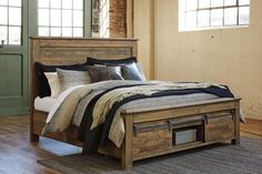 Ashley Furniture Sommerford California King Panel Bed with Storage with Includes 3 pieces: panel headboard, storage footboard and rails,Made of pine wood King Storage Bed, Under Bed Storage, Bedroom Storage, Bedroom Decor, Bedroom Ideas, Bedroom Furniture, Bedroom Designs, Royal Furniture, Linen Storage