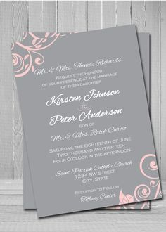 Grey and pink wedding invitation