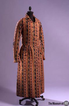 """1845 American Dressing gown at the Museum at FIT, New York - From the curators' comments: """"Dressing gowns made from roller-printed cotton were less costly—yet equally vibrant—alternatives to versions made from imported silk. Unlike their sober everyday garments, men's fashionable at-home clothing was often bold and colorful. The tailored fit of this example, while typical for its period, is more suggestive of a jacket than a casual robe."""""""