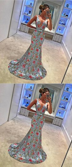 long prom dresses, floral evening dresses with train, cheap mermaid prom party dresses, floral prom dresses 2017
