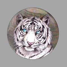 HAND PAINTED TIGER NATURAL MOTHER OF PEARL SHELL DIY PENDANT ZP30 00427 #ZL #Pendant