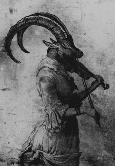 art Black and White dark strange goat violin baphomet pagan dark art