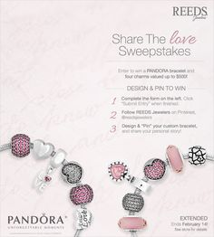 Reeds Jewelers Share the Love Sweepstakes! Ends Share The Love, Pandora Jewelry, Valentines, Charmed, Bracelets, Raves, Giveaways, Boards, Holidays