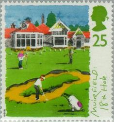 1994 Great Britain postage stamp commemorating Muirfield's 18th hole. 25p. Scottish Golf Course Series.