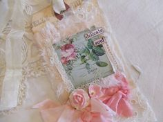 Shabby Rose Collage Gift Tag Mixed Media Pink Seam Binding Vintage Lace Gift Tag Antique Rose Collage