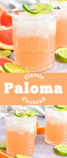 Paloma is a delightfully refreshing tequila cocktail that's made with only 4 simple ingredients. Grapefruit soda, tequila, fresh lime juice, and a little agave nectar come together to create an unforgettably delicious drink. This summer, refresh yourself with a Paloma cocktail! Fun Drinks Alcohol, Yummy Drinks, Classic Cocktails, Fun Cocktails, Cocktail Recipes, Tequila And Lemonade, Vodka Cranberry Cocktail, Paloma Cocktail, Lemon Drop Martini