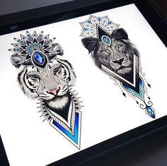 lion & lioness couple tattoo © tattoo studio My Queen Tattoo 📌💕🙊💕🙊💕🙊💕📌 Paar Tattoos, Dog Tattoos, Couple Tattoos, Animal Tattoos, Tattoo Drawings, Body Art Tattoos, Sleeve Tattoos, Tatoos, Back Tattoo