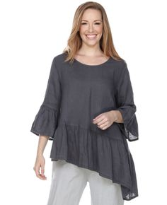 8a124879b18858 Match Point Linen 3/4 Sleeve with Ruffle Top | Fg Clothing Womens Linen  Clothing