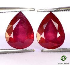 4.88 Cts Natural Ruby Pear Cut Pair 9x7 mm Reddish Shade Glass Filled Loose Gemstones Natural Emerald, Natural Ruby, Semi Precious Gemstones, Loose Gemstones, Jewelry Sets, Unique Jewelry, Rocks And Gems, Leaded Glass, Pear