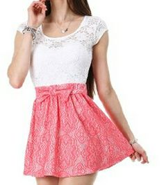 Fashion Floral Lace Skater Skirt  (11 FOXY)