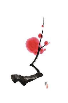 spring sumi, sumi-e by: cherry blossom stem Japanese Ink Painting, Sumi E Painting, Chinese Painting, Chinese Art, Chinese Brush, Japanese Drawings, Japanese Calligraphy, Calligraphy Art, Art Chinois