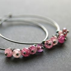 Pink Tourmaline Hoops by RanolaSg Oxidized Sterling Silver, Sterling Silver Earrings, Awareness Ribbons, Bangles, Bracelets, Pink Tourmaline, Carnelian, Rose Buds, Bridal Jewelry