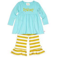 Girls Tiffany Aqua & Mustard Stripe Pant Set – Lolly Wolly Doodle