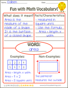 how to use the Frayer Model to reinforce math vocabulary in your classroom (and receive a FREE printable!)Learn how to use the Frayer Model to reinforce math vocabulary in your classroom (and receive a FREE printable! Math Strategies, Math Resources, Multiplication Strategies, Maths 3e, Ks3 Maths, Fifth Grade Math, Grade 3, Fourth Grade, Second Grade