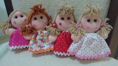 Mini bonecas em feltro Rosinha, Florzinha, Belinha e Aninha