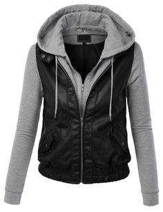 Womens Casual Motorcycle Fleece Hoodie Faux Leather Jacket | Faux ...
