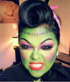 Mädchen Frankenstein Make-up Frankenstein Makeup, Bride Of Frankenstein Costume, Holidays Halloween, Halloween Make Up, Halloween Party, Halloween Ideas, Moana Halloween Costume, Girl Face Painting, Zombie Makeup