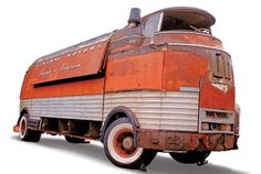 GMC Futureliner. Can you believe this was once used to travel the country and show off concept vehicles. Id turn it into a custom rolling stage.