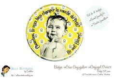 Set de 4 badges Crise Conjugale Special Tendre famille par Eudeline, $16,00