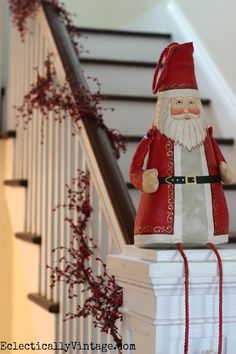 Santa and berry Christmas bannister eclecticallyvintage.com