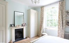 light locations victorian home house kentish town london england bedroom light blue fireplace traditional decor New Homes, Bedroom Fireplace, Bedroom Colors, Trendy Home, Home, Bedroom Inspirations, Light Blue Living Room, Home Bedroom, Home Decor