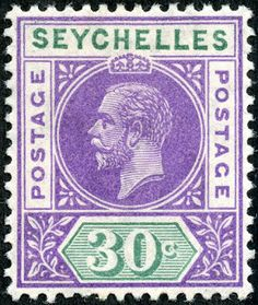 "Seychelles  1912 Scott 69 30c purple & green ""George V"" Note ""Postage...Postage"" on white side tablets"