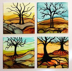 These little trees were created with alcohol inks and Sharpie/Micron on 4″ x 4″ Chromaluxe panels.  Sealed with triple thick acrylic glaze.