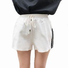 Women Elastic Hight Waist Wide Leg Shorts Solid Colour 2017 Summer ...