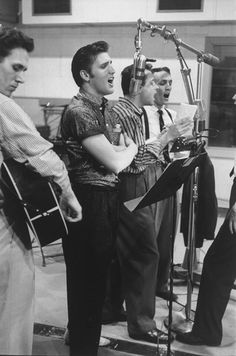 Elvis Presley in the recording studio, 1956
