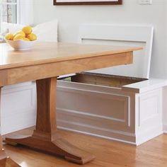 built-in storage bench -- breakfast nook Kitchen Storage Bench, Seat Storage, Kitchen Benches, Built In Storage, Bathroom Storage, Layout Design, Ikea, Built In Seating, Kitchen Flooring