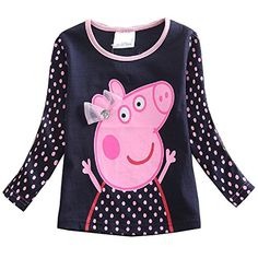 Children Kid Baby Girls Cotton Long Sleeve Cartoon Dot Top Tshirt Tee -- Click image to review more details.