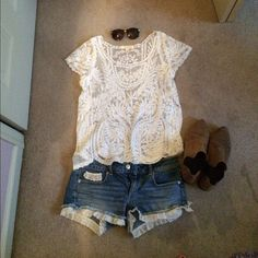 White lace top See through white lace top. Bought from Ross and size M/L in great condition. Paired with denim lace shorts still available in my closet! PacSun Tops Tees - Short Sleeve