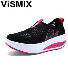 Just $12.90, Buy VISMIX Hot Selling 2017 Fashion Floral Print Leather Platform Evelator Shoes Women Swing Wedge Casual Shoes 5 Cm Platform Shoes