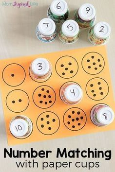 Counting and number matching with paper cups. A fun math activity for preschool. Counting and number matching with paper cups. A fun math activity for preschool. Counting and number matching with paper cups. A fun math activity for preschool. Toddler Learning Activities, Preschool Learning Activities, Preschool Classroom, Preschool Activities, Maths Eyfs, Educational Activities, Fun Learning, Preschool Education, Preschool Centers