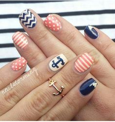 #nails #stripes #nautical #anchor #blue #white #coral