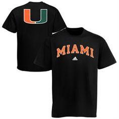 Mens adidas Black Miami Hurricanes Relentless T-Shirt