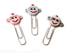 Sock Monkey Bookmark Paperclips Pink Blue Gray MADE TO ORDER in Polymer clay by MagicByLeah, $6.50