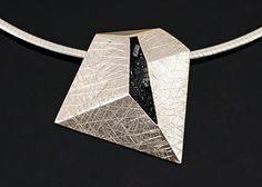 Irregular Pendant by Elaine Cox Silver, 18ct Gold, Crushed Raw Diamonds & Pyrite