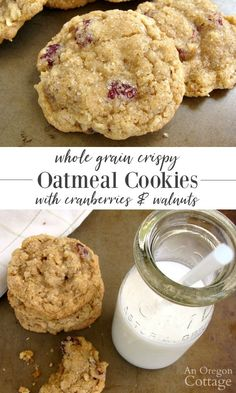 Whole grain oatmeal cookies are shaped and dipped in sugar for a perfect crispy-chewy combo! #oatmealcookies #baking #oatmeal #wholegrain