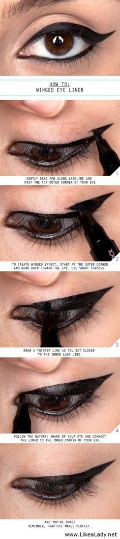 Winged Eye Liner, something I cannot master nor ever will. I will need this for practice.