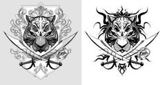 Tiger-Pirate tattoo by BillyNunez on DeviantArt Tattoo Design Drawings, Tattoo Designs, Tattoo Ideas, Pirate Tattoo, Double Image, Tiger Tattoo, Deviantart, Character Description, Unique Tattoos