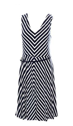 89b499388f3 Ralph Lauren Women s Sleeveless Chevron-Print Belted Dress Navy White   ralphlauren Belted Dress
