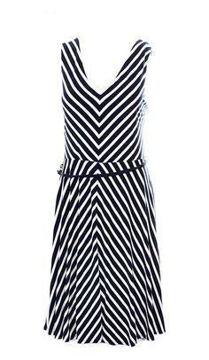 89b499388f3 Ralph Lauren Women s Sleeveless Chevron-Print Belted Dress Navy White   ralphlauren Belted Dress